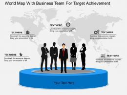 World Map With Business Team For Target Achievement Ppt Presentation Slides