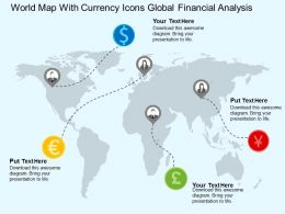 World Map With Currency Icons Global Financial Analysis Flat Powerpoint Design