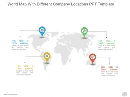 World Map With Different Company Locations Ppt Template