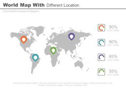World Map With Different Location And Percentage Powerpoint Slides