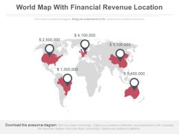 World Map With Financial Revenue Locations Powerpoint Slides