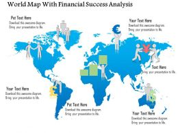 World Map With Financial Success Analysis Ppt Presentation Slides