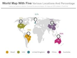World Map With Five Various Locations And Percentage Powerpoint Slides