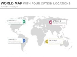 World Map With Four Option Locations Powerpoint Slides