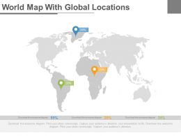 World Map With Global Locations Powerpoint Slides