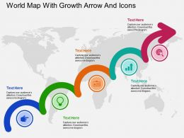 World Map With Growth Arrow And Icons Flat Powerpoint Design