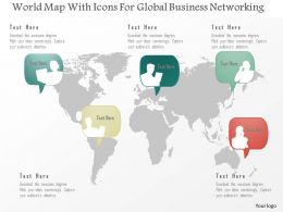 World Map With Icons For Global Business Networking Ppt Presentation Slides
