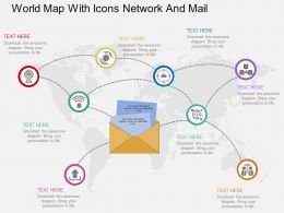 World Map With Icons Network And Mail Ppt Presentation Slides