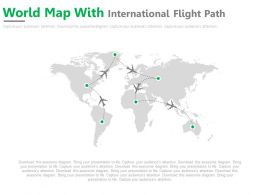 World Map With International Flight Path Powerpoint Slides