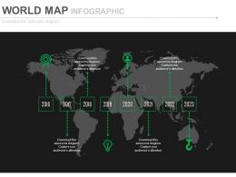 World Map With Linear Year Based Timeline Powerpoint Slides