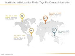 World Map With Location Finder Tags For Contact Information Ppt Slides