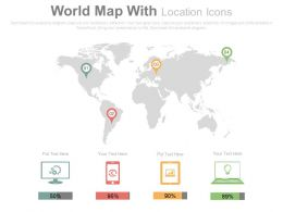 World Map With Location Icons And Devices For Internet Services Powerpoint Slides