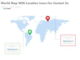 World Map With Location Icons For Contact Us Powerpoint Slides