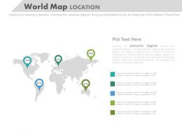 World Map With Location Indication For Business Powerpoint Slides