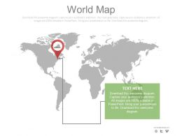 World Map With Location Indication Powerpoint Slides