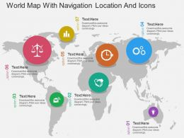 World Map With Navigation Location And Icons Flat Powerpoint Design