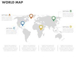 World Map With Navigation Location Powerpoint Slides