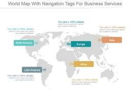 World Map With Navigation Tags For Business Services Ppt Slide Styles