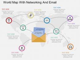 World Map With Networking And Email Flat Powerpoint Design