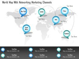 World Map With Networking Marketing Channels Ppt Presentation Slides
