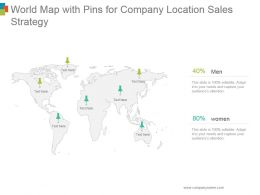 World Map With Pins For Company Location Sales Strategy Ppt Presentation