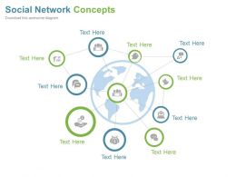 World Map With Social Icons For Networking Powerpoint Slides