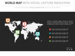 World Map With Social Media Capture Indication Powerpoint Slides