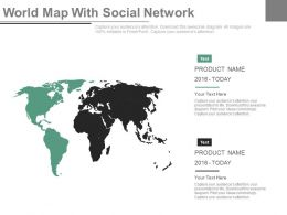 World Map With Social Network Powerpoint Slides