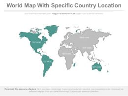 World Map With Specific Country Location Powerpoint Slides
