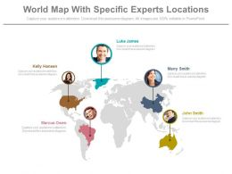 World Map With Specific Experts Locations Powerpoint Slides