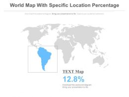 World Map With Specific Location Percentage Powerpoint Slides