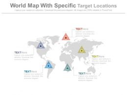 World Map With Specific Target Locations Powerpoint Slides