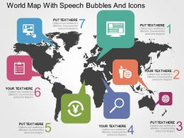 World Map With Speech Bubbles And Icons Ppt Presentation Slides