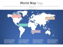 World Map With Tags For Global Business Strategy Powerpoint Slides