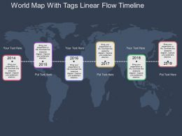 World Map With Tags Linear Flow Timeline Flat Powerpoint Design