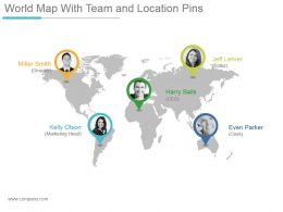 World Map With Team And Location Pins Powerpoint Themes