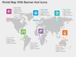 World Map With Various Banners And Icons Ppt Presentation Slides
