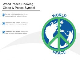 World Peace Showing Globe And Peace Symbol