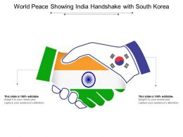 World Peace Showing India Handshake With South Korea