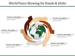 World Peace Showing Six Hands And Globe