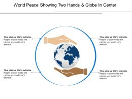 World Peace Showing Two Hands And Globe In Center