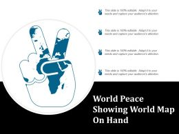 World Peace Showing World Map On Hand