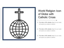 World Religion Icon Of Globe With Catholic Cross