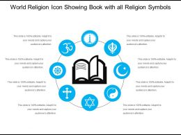 World Religion Icon Showing Book With All Religion Symbols