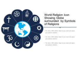 World Religion Icon Showing Globe Surrounded By Symbols Of Religions