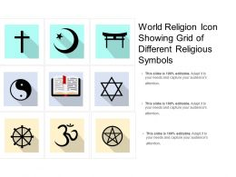 World Religion Icon Showing Grid Of Different Religious Symbols