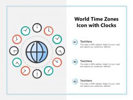 World Time Zones Icon With Clocks