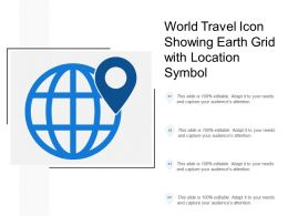 World Travel Icon Showing Earth Grid With Location Symbol