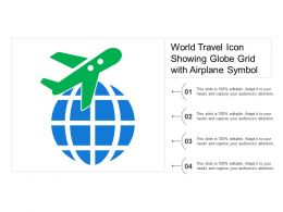 World Travel Icon Showing Globe Grid With Airplane Symbol