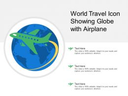 World Travel Icon Showing Globe With Airplane